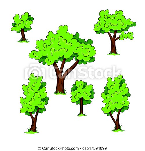 Set of different trees with grass - csp47594099