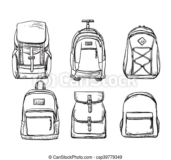 Set of different types backpacks. A set of different types ...