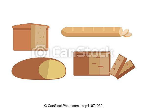 Set of Different Types of Bread Illustration. - csp41071939