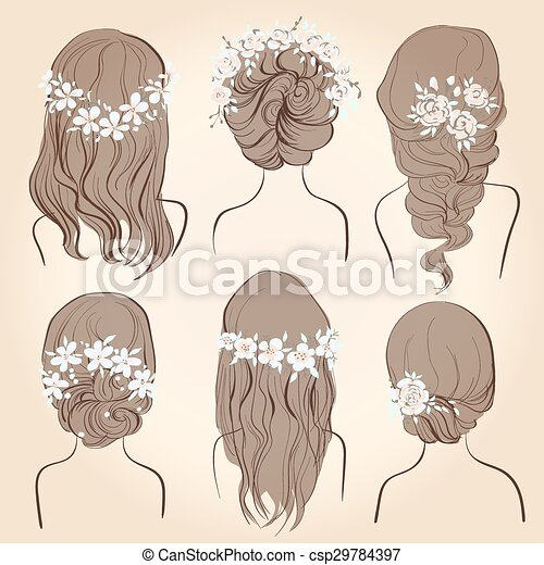 Set Of Different Vintage Style Hairstyles Wedding Eps Vectors - Different hair style drawing