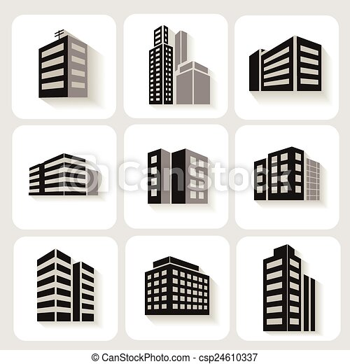 Set of dimensional buildings icons in grey and white with shadow depicting high-rise commercial   office blocks  - csp24610337