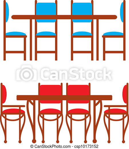 kitchen table clipart. set of dining tables and chairs - csp10173152 kitchen table clipart