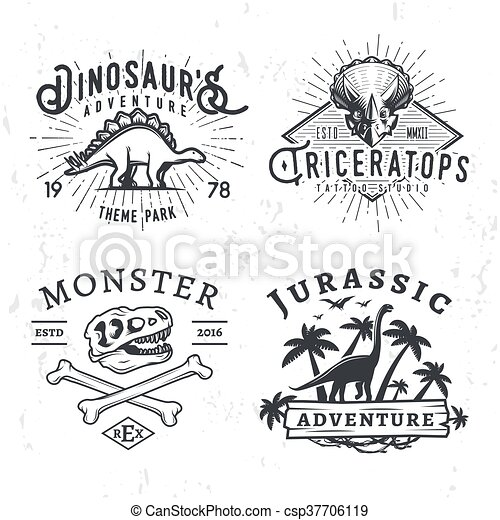 Set of Dino Logos. T-rex skull t-shirt illustration concept on grunge background. stegosaurus adventure park insignia design. Vintage Jurassic Period badge collection. - csp37706119