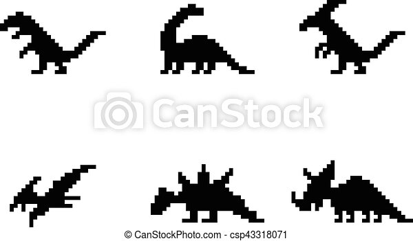 Set of dinosaur icons in silhouette pixel style - csp43318071