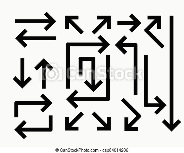 Set Of Directional Arrows In Bold Line Style Canstock