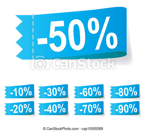 Set of discount labels. Vector illustration. - csp10505589