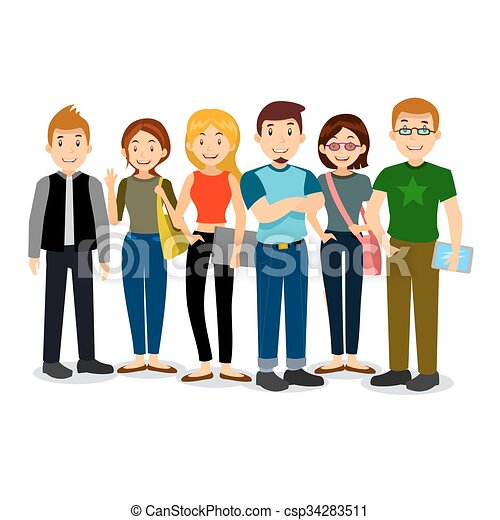 set of diverse college or university students vector group rh canstockphoto com student clip art free student clip art images
