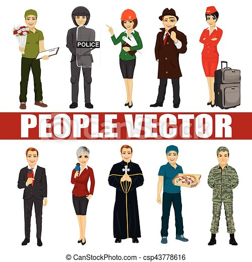 Set of diverse people. Various professions. Policeman, riot, architect, stewardess, priest, courier, soldier, reporter, detective - csp43778616