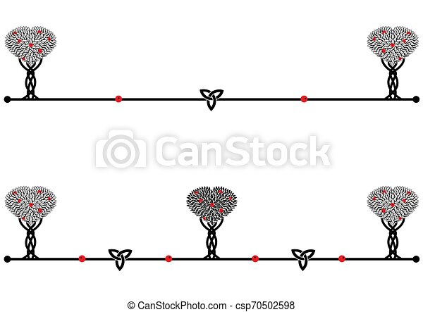 set of dividers with apple trees - csp70502598