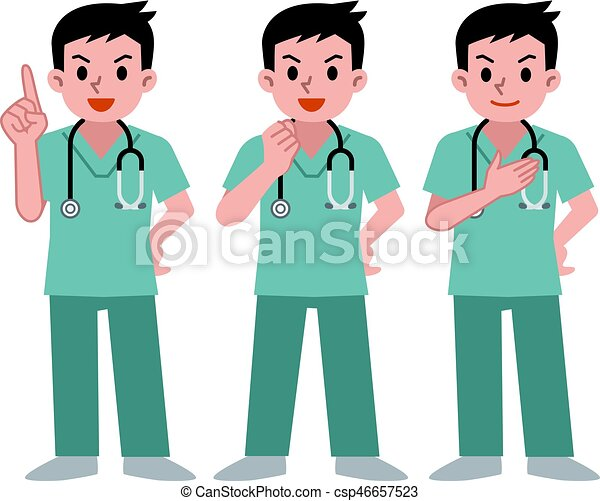 Set of doctors in a scrub - csp46657523