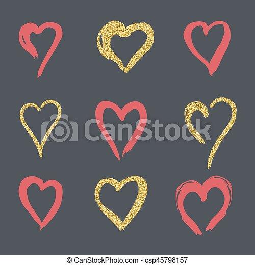 Set Of Doodle Hearts In Style Logo Symbol Of Love Gold Rose On A Black Background Use In Decoration Design Emblem Vector Illustration