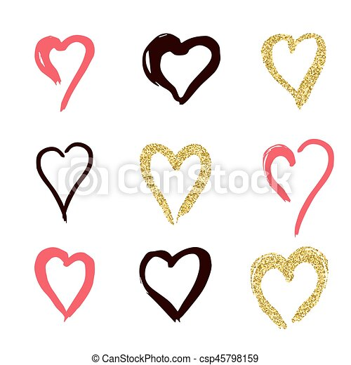 Set Of Doodle Hearts In Style The Logo The Symbol Of Love Gold