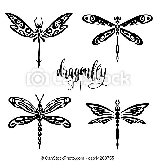Set of dragonflies for tattoo - csp44208755