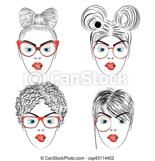 Set Of Drawing Women Faces With Haircuts Set Of Drawing Women Faces