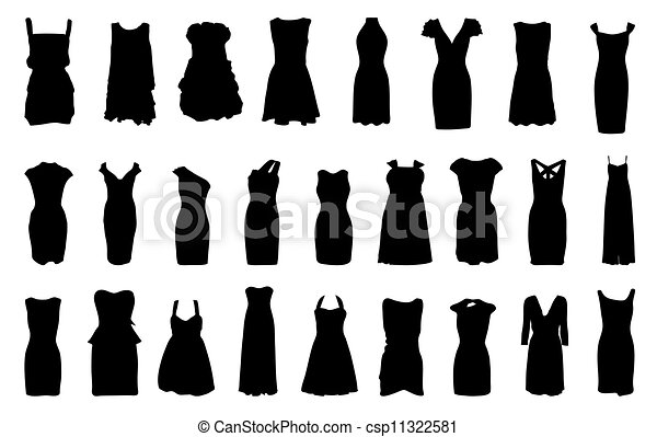 Set of dresses silhouette isolated on white background - csp11322581