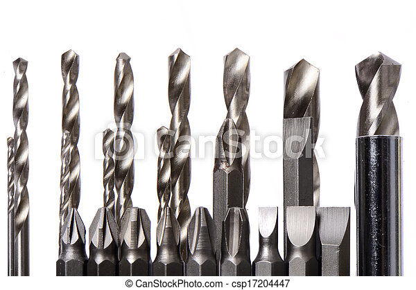 set of drill bits isolated in white - csp17204447
