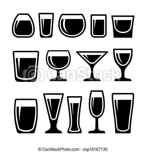 Set of drink glasses icons - csp16167130
