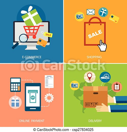 set of e-commerce and shopping concept flat design - csp27834025