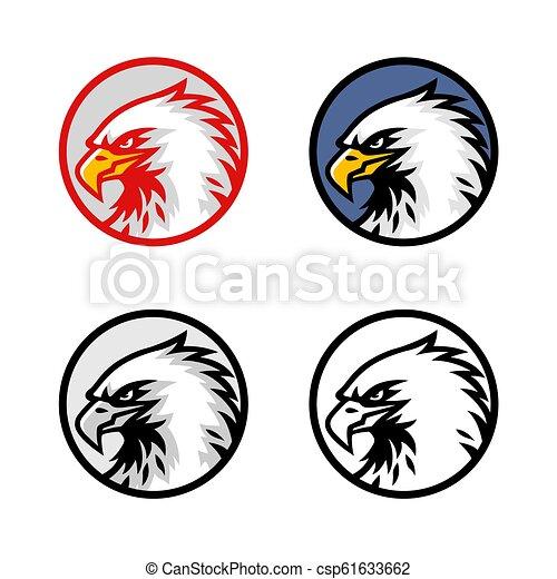 Set of Eagle Head Logo Vector Design, Sign, Icon, Illustration