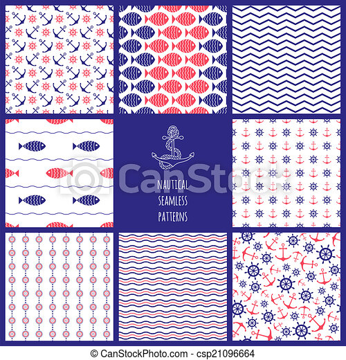 Set of eamless nautical patterns - csp21096664