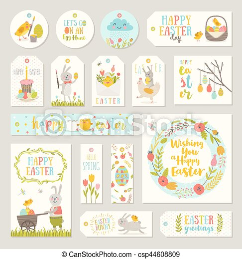 Set of easter gift tags and labels with cute cartoon characters and set of easter gift tags and labels with cute cartoon characters and type design easter greetings with bunny chickens eggs and flowers vector negle Choice Image