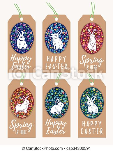Set of easter gift tags with bunny rabbit silhouette vector set of easter gift tags with bunny rabbit silhouette csp34300591 negle Image collections