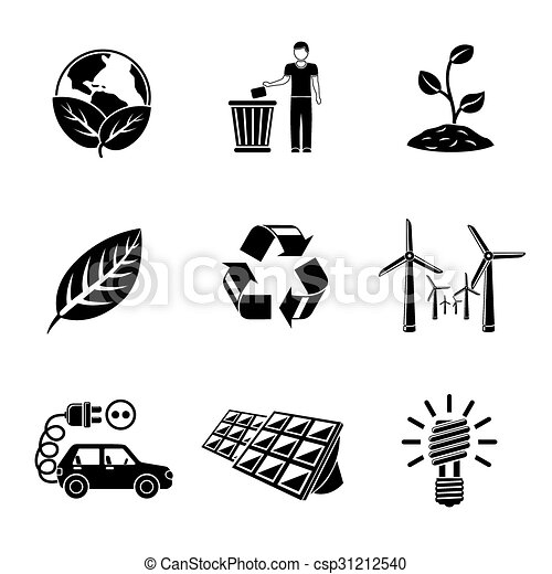 Set of ECOLOGY icons with - recycle sign, green earth, leaf, garbage disposal, wind power, plant, solar power station, light bulb, electro car. Vector - csp31212540