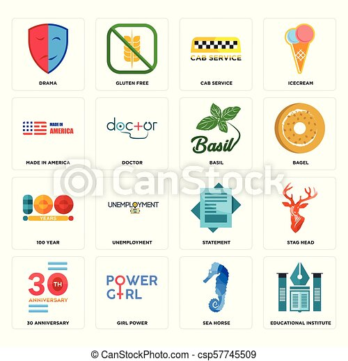 a0e4a7c6b884a Set Of 16 simple editable icons such as educational institute