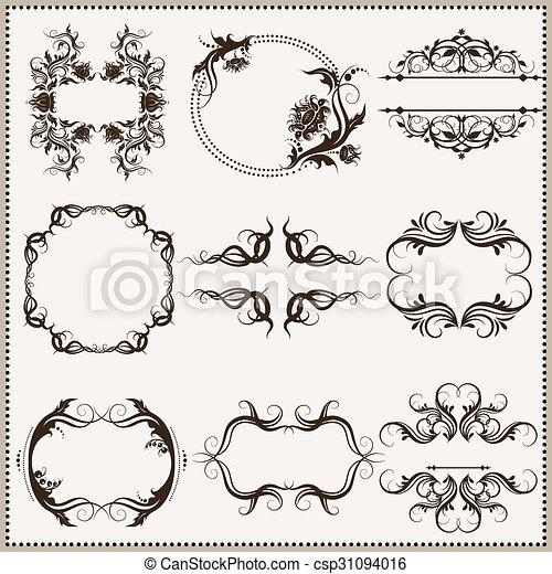 Set of elegant calligraphic frames. Decorative vintage frames and ...