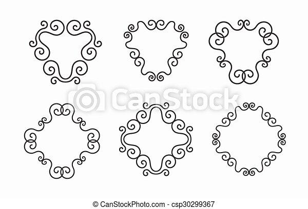 Set of elegant vector black twirl calligraphic line frames on white ...