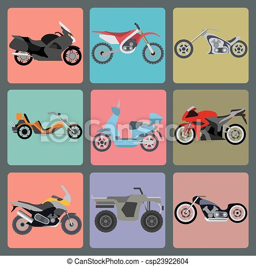 Set of elements motorcycles icon - csp23922604