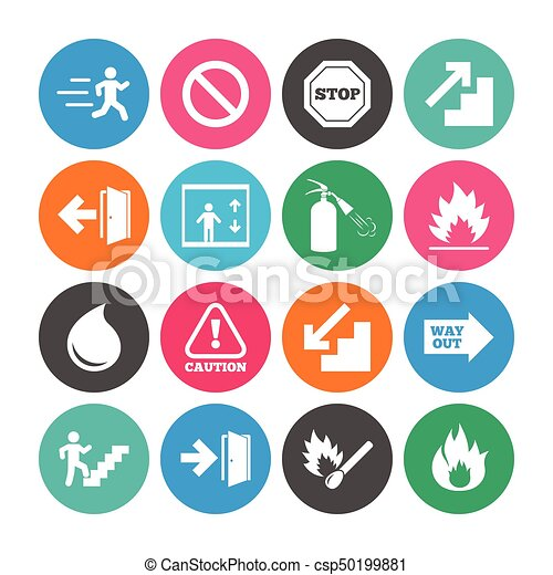 Set of Emergency, Fire safety and Protection icons