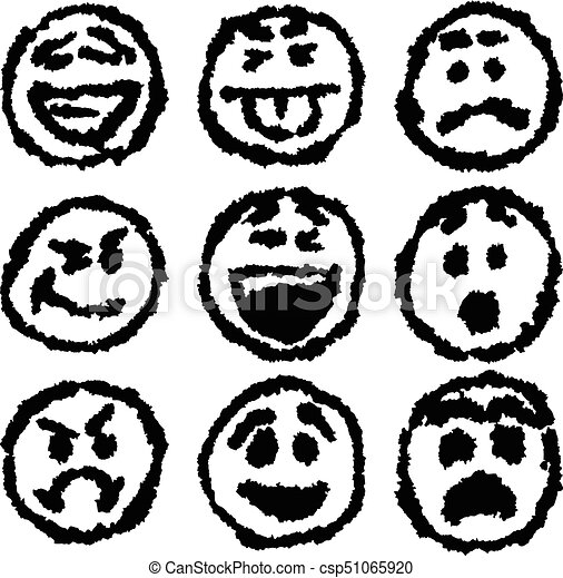 set of emoji or emoticon icons with grungy sketch drawing style set Summer Clip Art Emoji set of emoji or emoticon icons with grungy sketch drawing style csp51065920