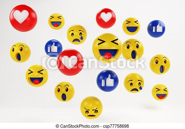 Set of Emojis, happy smiley design for mobile phone. 3d rendering - csp77758698