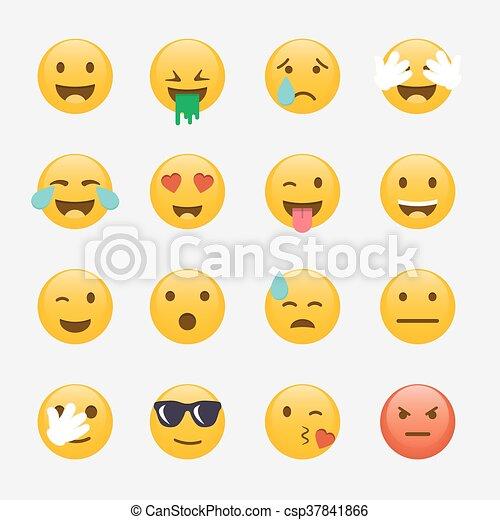 Set of Emoticons. Emoji flat design, avatar design. Vector illustration isolated on white background. - csp37841866