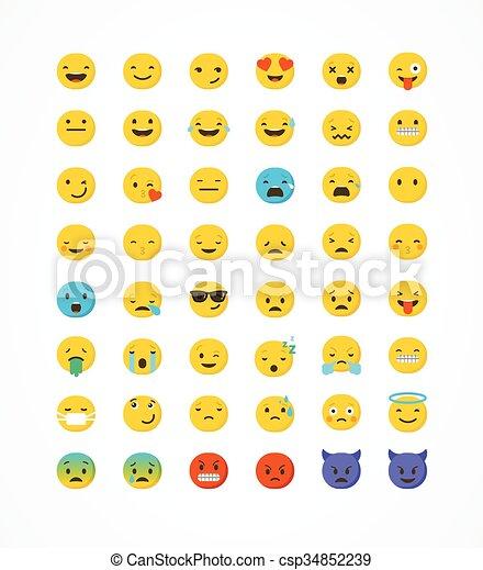 Set of emoticons, emoji isolated on white background, vector illustration - csp34852239
