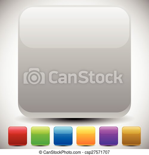 Set of empty glossy square buttons, square icons. Vector. - csp27571707