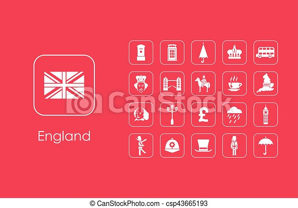 Set of England simple icons - csp43665193
