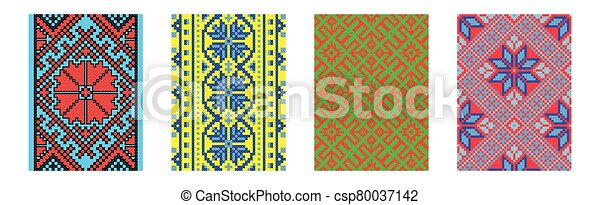Set of ethnic background in cross-stitch style. Traditional ukrainian decor. - csp80037142