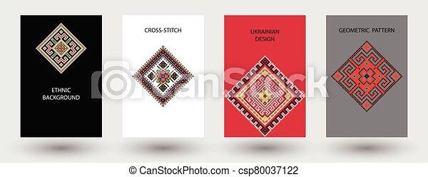 Set of ethnic background in cross-stitch style. Traditional ukrainian decor. - csp80037122