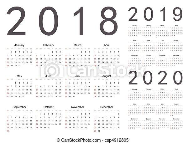 Calendar With Week Numbers 2020.Set Of European 2018 2019 2020 Year Vector Calendars