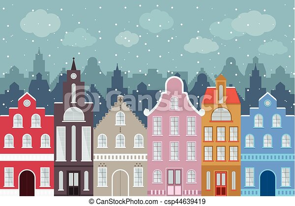 Set of European style colorful cartoon buildings in winter. Isolated hand drawn houses for your design. - csp44639419