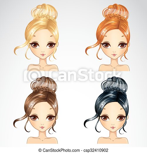 Set Of Event Retro Hairstyle Vector Illustration Of Beautiful Event