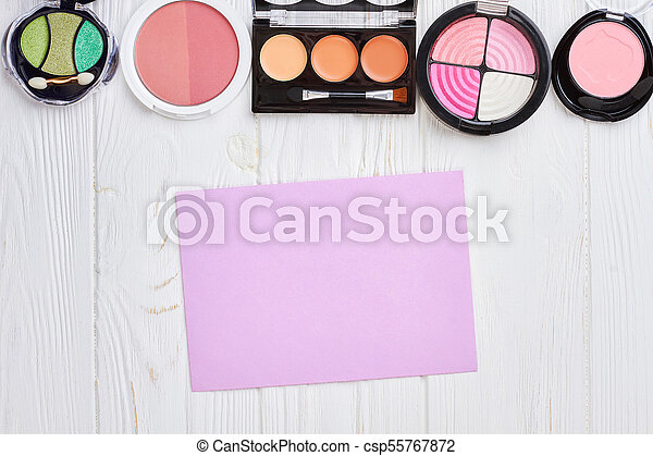 Set of eyeshadows and blushers, top view. - csp55767872