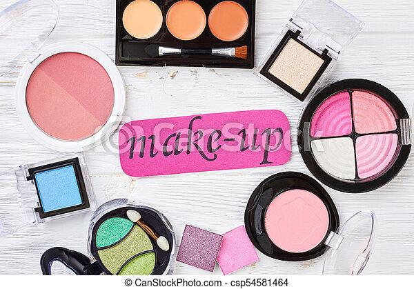 Set of eyeshadows and blushers, top view. - csp54581464