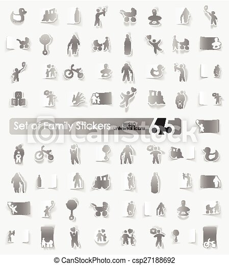 Set of family stickers - csp27188692
