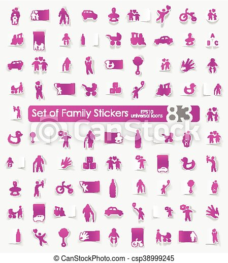 Set of family stickers - csp38999245