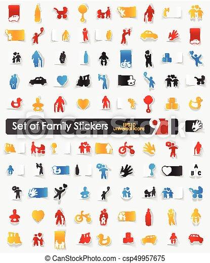 Set of family stickers - csp49957675