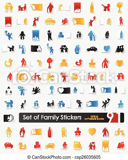 Set of family stickers - csp26035605