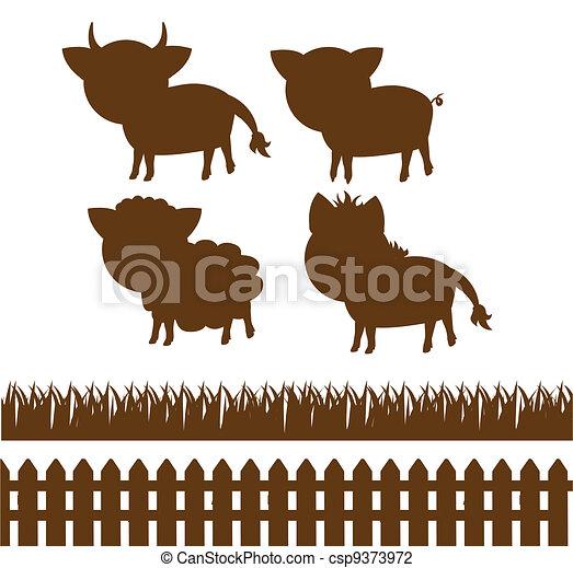 set of farm silhouettes  - csp9373972
